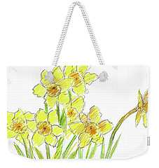 Weekender Tote Bag featuring the painting Spring Daffodils by Cathie Richardson