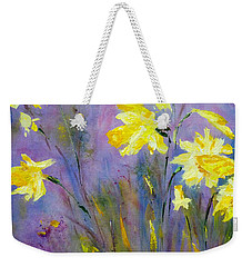 Weekender Tote Bag featuring the painting Spring Daffodils by Claire Bull