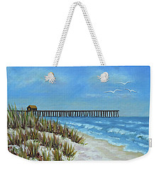 Weekender Tote Bag featuring the painting Spring Day On The Beach by Val Miller