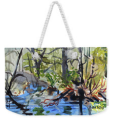 Weekender Tote Bag featuring the painting Spring Explosion by Kris Parins
