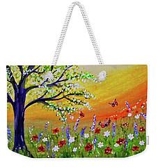 Weekender Tote Bag featuring the painting Spring Has Sprung by Sonya Nancy Capling-Bacle