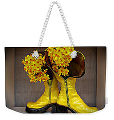 Spring In Yellow Boots Weekender Tote Bag by AmaS Art