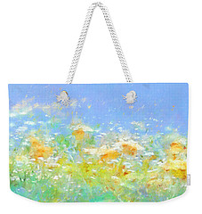 Spring Meadow Abstract Weekender Tote Bag by Menega Sabidussi