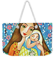 Weekender Tote Bag featuring the painting Spring Mother by Eva Campbell
