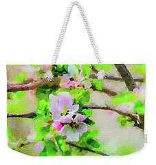 Weekender Tote Bag featuring the painting Spring On A Branch by Steven Santamour