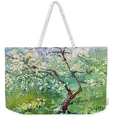 Weekender Tote Bag featuring the painting Spring Plum by Elizabeth Carr