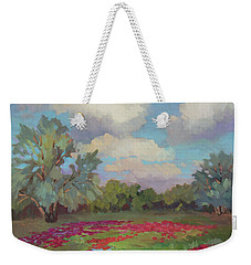 Weekender Tote Bag featuring the painting Spring Poppies by Diane McClary