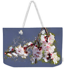 Weekender Tote Bag featuring the painting Spring Promise - Apricot Blossom Branch by Menega Sabidussi