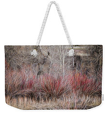 Weekender Tote Bag featuring the photograph Spring Red Bushes by Yulia Kazansky
