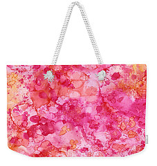 Weekender Tote Bag featuring the painting Spring Rose Abstract by Patricia Lintner