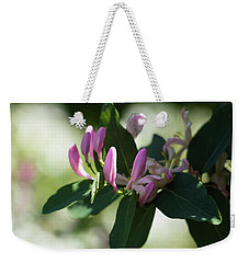 Weekender Tote Bag featuring the photograph Spring Shrub With Pink Flowers by Cristina Stefan