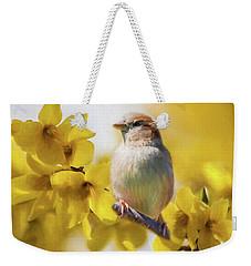 Spring Sparrow Weekender Tote Bag