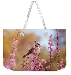 Weekender Tote Bag featuring the photograph Spring Sparrow by Lynn Bauer