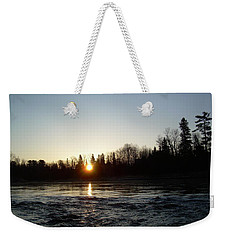 Weekender Tote Bag featuring the photograph Spring Sunrise Over Mississippi River by Kent Lorentzen