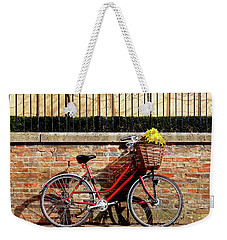 Weekender Tote Bag featuring the photograph Spring Sunshine And Shadows - Bicycle In Cambridge by Gill Billington