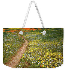 Weekender Tote Bag featuring the photograph Spring Trail Through A Sea Of Wildflowers At Diamond Lake In California by Jetson Nguyen