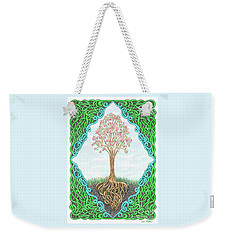 Weekender Tote Bag featuring the drawing Spring Tree With Knotted Roots And Knotted Border by Lise Winne