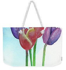 Weekender Tote Bag featuring the painting Spring Tulips by Betsy Hackett