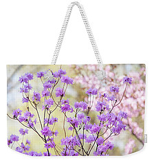 Weekender Tote Bag featuring the photograph Spring Watercolors. Blooming Rhododendron  by Jenny Rainbow