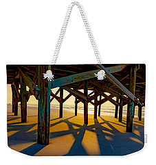 Springmaid Pier At Sunrise Weekender Tote Bag by David Smith