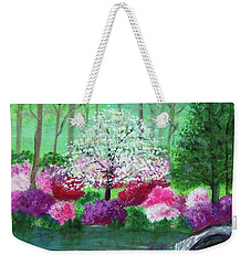 Weekender Tote Bag featuring the painting Springtime Azaleas In Georgia by Sonya Nancy Capling-Bacle