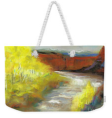 Weekender Tote Bag featuring the painting Springtime In The Rockies by Frances Marino