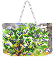 Weekender Tote Bag featuring the painting Springtime Lilac Abstraction by Kip DeVore