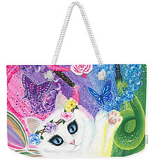 Weekender Tote Bag featuring the painting Springtime Magic - White Fairy Cat by Carrie Hawks