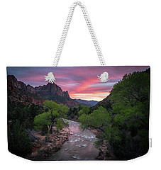 Springtime Sunset At Zion National Park Weekender Tote Bag