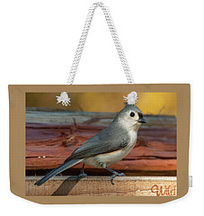 Springtime Tufted Titmouse Weekender Tote Bag