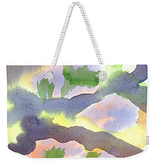 Weekender Tote Bag featuring the painting Springtime Wildflower Camouflage  by Kip DeVore