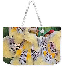Weekender Tote Bag featuring the photograph Spun Gold by Kathie Chicoine