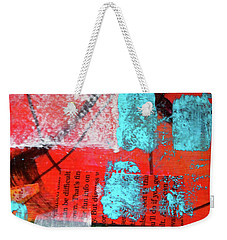 Weekender Tote Bag featuring the mixed media Square Collage No. 10 by Nancy Merkle