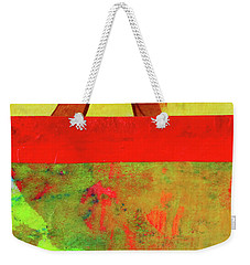 Weekender Tote Bag featuring the mixed media Square Collage No. 11 by Nancy Merkle
