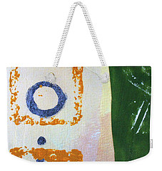 Weekender Tote Bag featuring the mixed media Square Collage No 2 by Nancy Merkle