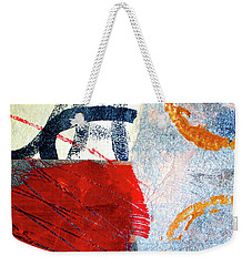 Weekender Tote Bag featuring the painting Square Collage No. 3 by Nancy Merkle