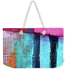 Weekender Tote Bag featuring the painting Square Collage No 4 by Nancy Merkle