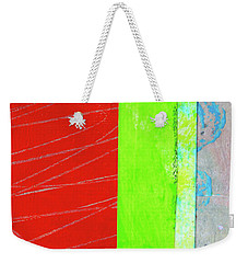 Weekender Tote Bag featuring the painting Square Collage No. 5 by Nancy Merkle