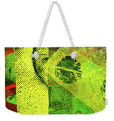 Weekender Tote Bag featuring the mixed media Square Collage No. 8 by Nancy Merkle