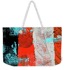 Weekender Tote Bag featuring the mixed media Square Collage No. 9 by Nancy Merkle