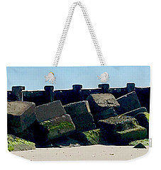 Square Mossy Blocks At Jetty  Weekender Tote Bag