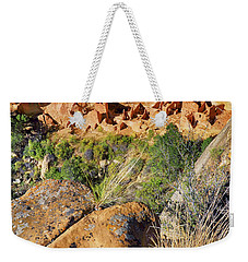 Weekender Tote Bag featuring the photograph Square Tower House At Mesa Verde National Park - Colorado - Pueblo by Jason Politte