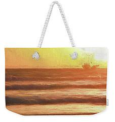 Squid Boat Sunset Weekender Tote Bag