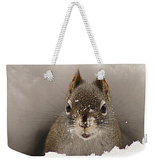 Squirrel In A Snow Tunnel Weekender Tote Bag by Stanza Widen