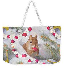Weekender Tote Bag featuring the painting Squirrel In Snow With Cranberries by Nancy Lee Moran