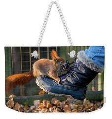 Squirrel On Boot  Weekender Tote Bag
