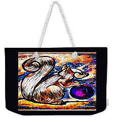Squirrel With Christmas Ornament Weekender Tote Bag by MaryLee Parker