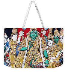 Weekender Tote Bag featuring the painting Sri Ramar Pattabhishekam by Ragunath Venkatraman