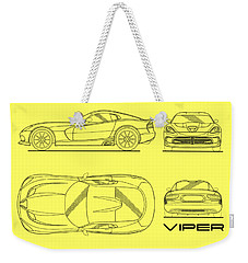 Srt Viper Blueprint Weekender Tote Bag by Mark Rogan
