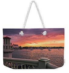 St. Augustine Bridge Of Lions Watercolor Sunset Weekender Tote Bag